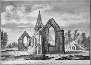 De ruïne van de tweebeukige kerk na de verwoesting door de Spanjaarden